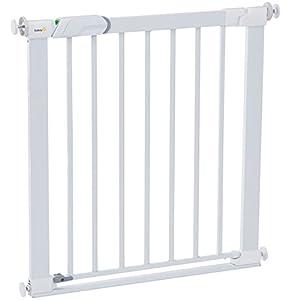 Safety 1st Flat Step Barrera escalera para bebés, niños y perros, Puerta de seguridad con Barra inferior muy delgada reduce el riesgo de tropiezos, color blanco