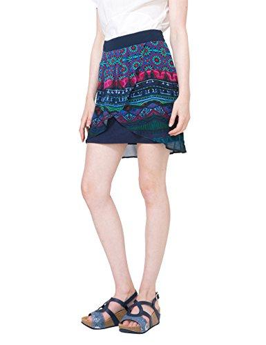 Desigual FALD_Erika Jupe, Bleu (Navy 5000), XL (Taille Fabricant: 42) Femme