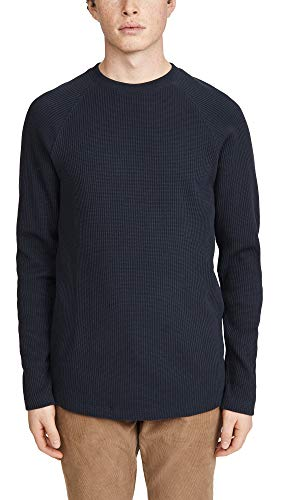 Theory Men's River Stretch Cotton Long Sleeve T-Shirt, Eclipse, Blue, Large