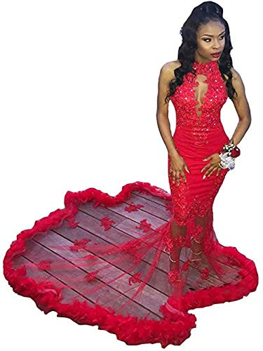 High Neck Mermaid Prom Dresses Long Sexy Backless Appliques Lace Evening Dress Party Gowns with Feather Red