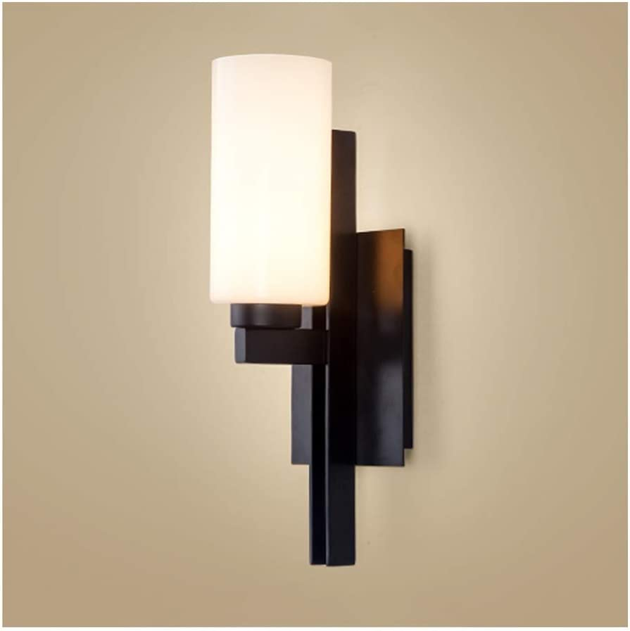 Wall Sconce Lamps Wall Lamp - Chinese Simple Dimmable Wall Light,Wrought Iron Glass E271,Living Room Decor Porch Bedroom Dining Room Porch Corridor (Color : Stepless dimming)