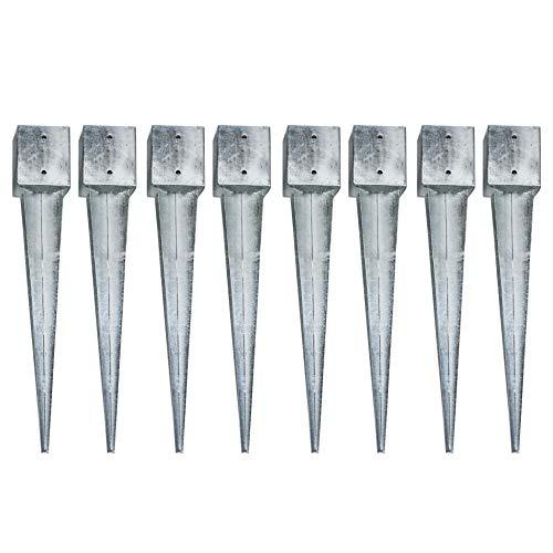 8 Einschlaghülsen Vierkant 121x121x900 mm für Zaunpfosten Gartenzaun