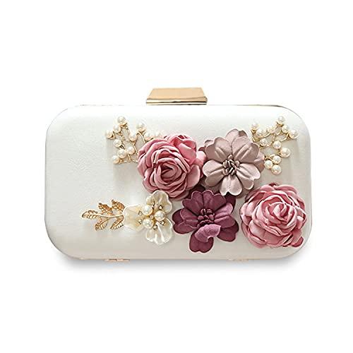 HMNS Bolso de mano de las mujeres de la boda de la noche del bolso del embrague de la flor