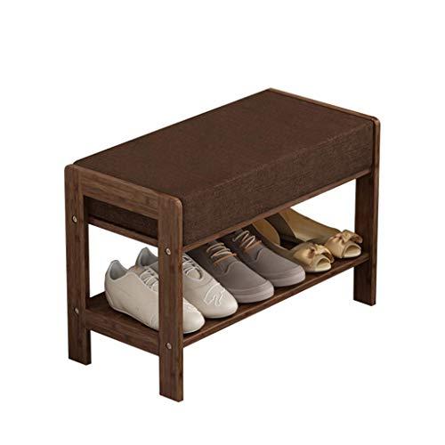 HLL Banco de Zapatos de Madera Pasillo de Almacenamiento 2 Niveles Zapatero Otomano de Bambú Cambio de Banco de Zapatos con Cojín de Asiento Suave Marrón,60 cm
