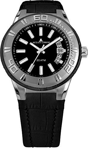 Jacques Lemans Unisex Erwachsene Armbanduhr Multi Zifferblatt Quarz Leder 1-1771A