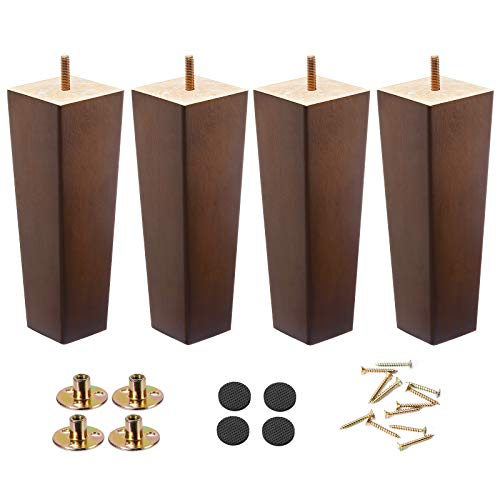 Wood Furniture Legs 8 inch Sofa Legs Pack of 4,Couch Legs Square Brown,Mid century desk legs,Sofa replacement parts, For Dresser legs Sideboard Recliner couch Circle chair Couch riser Coffee Table