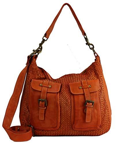 BZNA Bag Emma Orange Italy Designer borsa a mano da donna borsa a tracolla in pelle di pecora Shopper Nuovo