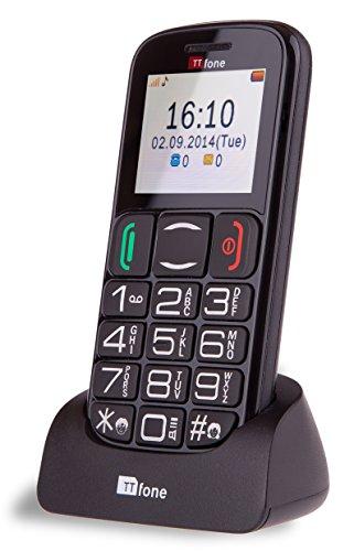 TTfone Mercury 2 TT200 - Teléfono móvil Libre (básico para Mayores, con Botones Grandes, con Base de Carga) Color Negro
