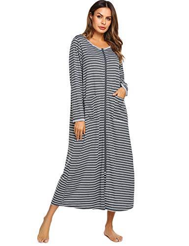 Ekouaer Womens Long Robe, Soft Zip-Front Bathrobe