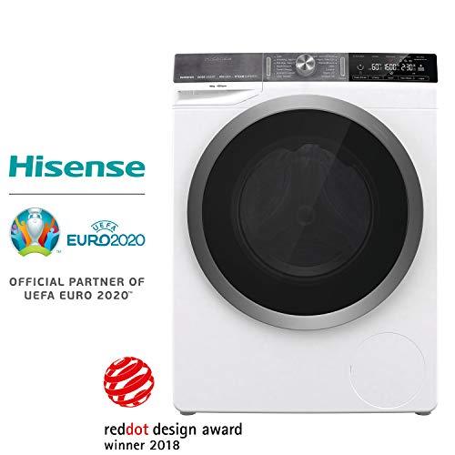 Hisense WFGS1016VM - Lavadora Superior con Vapor, Carga Frontal 10 Kg, 1600 RPM, Clase A+++(-20%) Motor Inverter, 14 Programas, Puerta Extra Grande, Color Blanco,Gran Display LED, Bloqueo Infantil