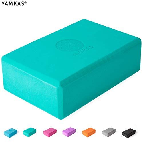 Yamkas Mattoncini Yoga Blocks in Schiuma Eva ad Alta Densità | Blocchi – Mattoni per Pilates | 1 Pezzi o 2 Pezzo | Turquoise