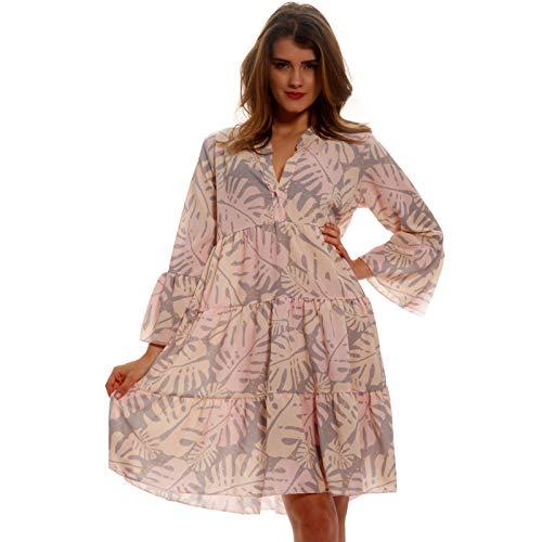YC Fashion & Style Damen Tunika Kleid Allover Muster Boho Look Party-Kleid Freizeit Minikleid oder Herbstkleid Kleid Für Frauen mit Kurven HP219 Made in Italy (One Size, Rose/Mehrfarbig)
