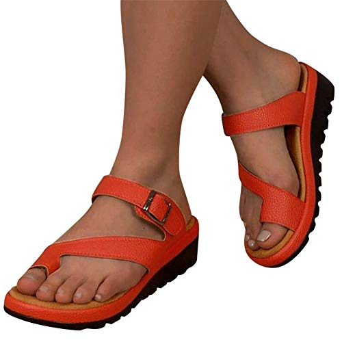 Sandals for Women Flat,Women's 2020 Toe Ring Comfy Platform Sandal Shoes Summer Beach Travel Fashion Slipper Flip Flops Orange