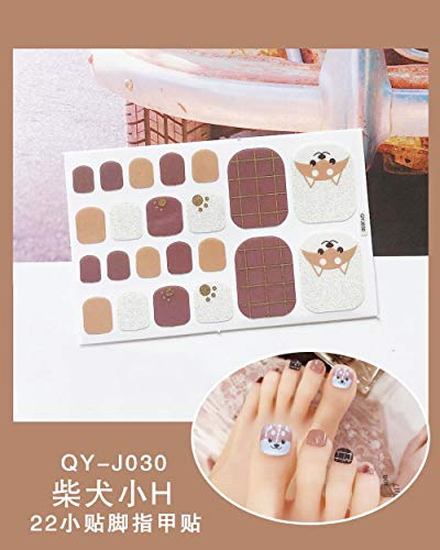 BGPOM Foot Stickers Nail Stickers Nail Stickers Fully Waterproof Lasting 3D Toenail Stickers Patch 10 Sheets/Set,Shiba Inu Little H (QY-J030)