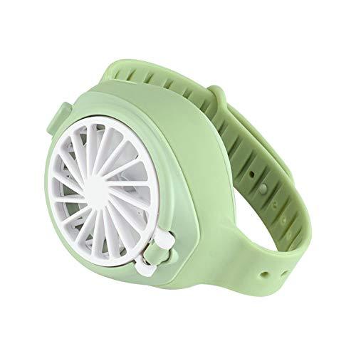 KingbeefLIU Reloj creativo para niños con USB de carga silenciosa de verano 3 modos reloj ventilador de regalo de estudiante verde