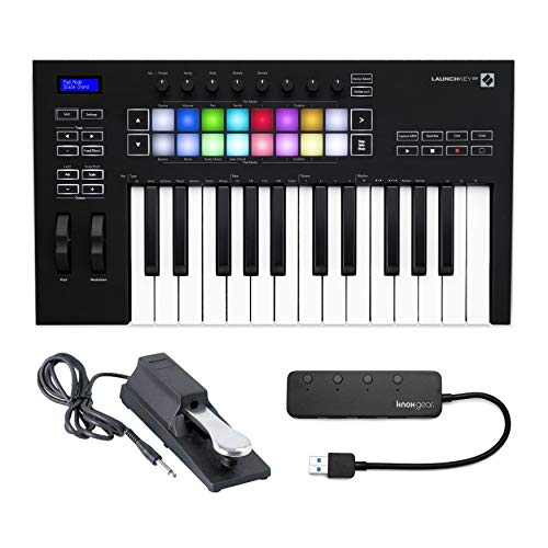 Novation Launchkey 25 (MK3) 25 Full Size Key MIDI Keyboard Bundle with Sustain Pedal and Knox Gear 4-Port USB 3.0 Hub (3 Items)