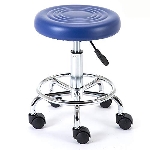 WHOJA Bar Stool Round bar chair Elevating rotary Beauty stool metal frame High stool Mute pulley Height adjustable 43-55cm Bar Stools Chairs Set (Color : Blue)