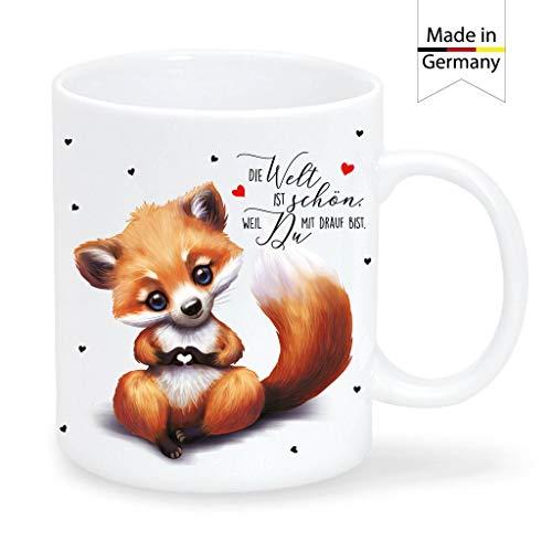 Wandtattoo Loft Tasse Bedruckt Fuchs Die Welt ist schön, Weil Du mit Drauf bist Kaffeetasse Keramik/Matte Oberfläche