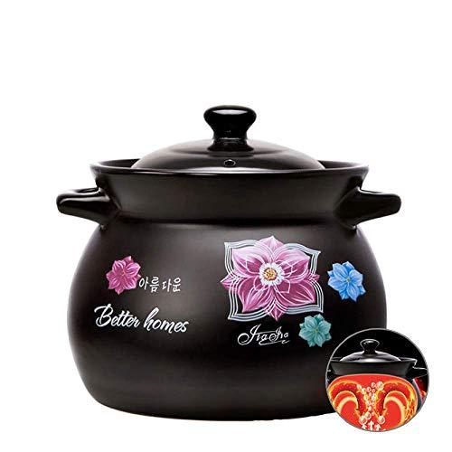 Beau et Pratique XLTCG casseroles en céramique Steak Pan Ramen Pot-coréen de Nouilles coréen Pot Nouilles instantanées, Casserole Pot résistant à la Chaleur avec Couvercle, Black1-5L