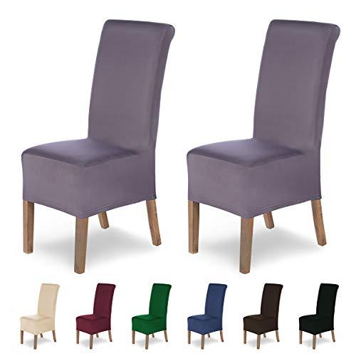 Housses de chaises SCHEFFLER-Home Lena 2 Set, élastiques Couverture Stretch, Couvre revêtement de Chaise, Shark Gris
