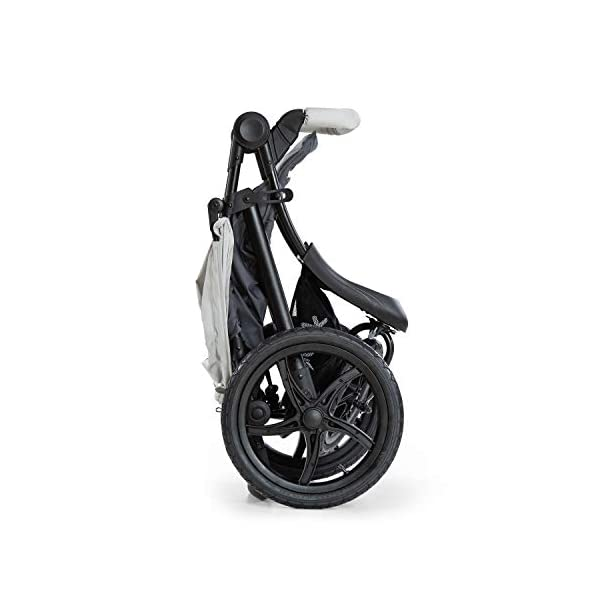 Hauck Runner, Jogger Style, 3-Wheeler, Pushchair with Extra Large Air Wheels, Foldable Buggy, For Children from Birth to 25kg, Lying Position - Silver Grey Hauck LONG USE - This 3-wheel pushchair is suitable from birth (in lying position or in combination with the 2in1 Carrycot) and can be loaded up to 25kg (seat unit 22 kg + basket 3 kg) ALL-TERRAIN - Thanks to the big air wheels - back 39cm diameter, front 30 diameter – as well to the swiveling and lockable front wheel, this jogger style pushchair can be used on almost any terrain COMFORTABLE - Thanks to adjustable backrest and footrest, sun canopy, large shopping basket, and height-adjustable push handle 19