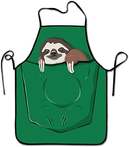 MODORSAN Green Sloths in The Bag Delantales de cocina Delantal largo ajustable con babero Delantales para adultos para cocinar Hornear Parrilla