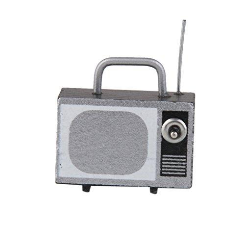 Rétro Télévision Tv Avec Antenne pour 1/12 Maison de Poupée Miniature