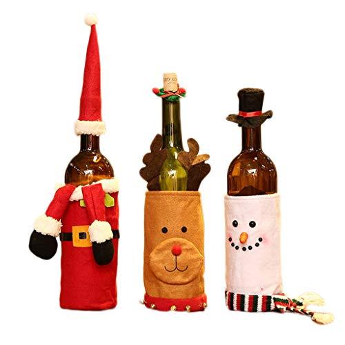 PIAOLING 3pcs Gnomi di Natale Gnomi Vino Bottiglia di Vino Cover Handmade Style Style Holiday Home Decorazioni Natalizie Regalo