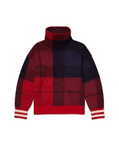Tommy Hilfiger Herren ADP EU ICON Check HIGH NK Sweater Pullover, Desert Sky/Night Sky-pt/Arizona Red Aa 105-980, Klein