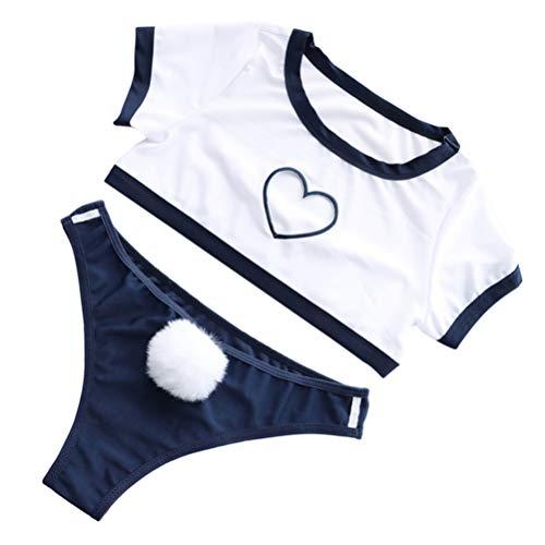 EXCEART Sexy Cosplay Dessous für Frauen Sexy Herzförmige Sportuniform Babypuppe Teddyoutfit mit Hasenschwanz Frecher Bodysuit Sexy Pyjamas für Paar Weiß
