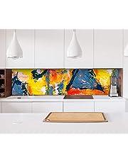 Sticker keuken achterwand abstract schilderij kleurrijke kleuren kunst keuken folie zelfklevende decoratieve folie tegels meubelfolie spatbescherming 22B090, hoogte x lengte: 70cm x 200cm