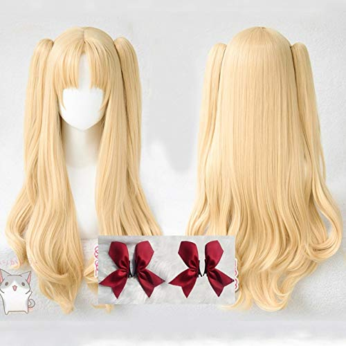 Fate Grand Order Ereshkigal Cosplay Wig FGO Servant Lancer Chip Ponytails Heat Resistant Hair Cosplay Wigs + Red Hairpins Other Wig and 4 hairpins