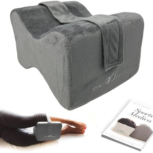 Von Medizinern entwickeltes Kniekissen (Dunkelgrau) - Memory-Foam-Keil für Seitenschläfer, Ischias, Schmerzen im unteren Rückenbereich- Beinkissen für Seitenschläfer - inklusive ärztliches Handbuchs