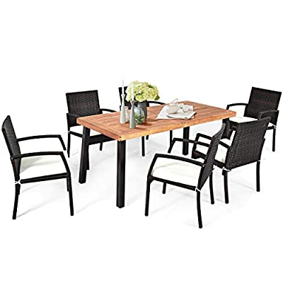 """Tangkula 7 Pieces Outdoor Dining Set, Acacia Wood Patio Dining Table w/ 6 Cushioned Rattan Armrest Chairs, Modern Furniture Table Set w/ 2.16"""" Umbrella Hole for Backyard Garden Poolside"""