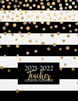 Teacher Lesson Planner  Weekly and Monthly Calendar Agenda   Academic Year August - July   Includes Quotes & Holidays   Gold Black White Striped  Lesson Planning Organizers