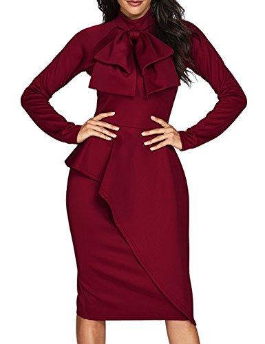 CILKOO Womens Tie Neck Peplum Waist Long Sleeve Bodycon Business Dress Red XX-Large