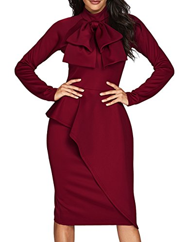 CILKOO Womens Tie Neck Peplum Waist Long Sleeve Bodycon Business Dress Red XX-Large