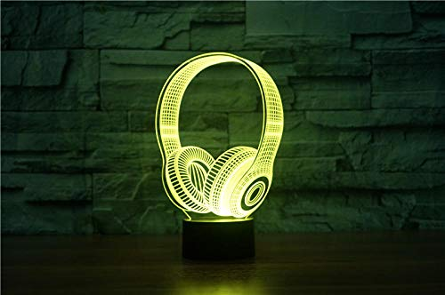 Anime 3D Night Light 3D DJ Headphone Night Light Studio Music Monitor Headset Coloful Earphone LED Table Lamp Bedroom Decor Sleep Lighting Best Gifts Holiday gifts that Children Love