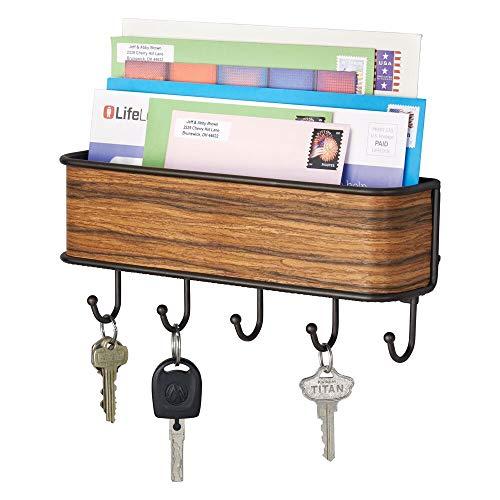 mDesign Colgador de llaves con estante para uso variado - organizador de llaves en acero inoxidable mate con detalles en madera de palisandro - con práctico estante para correo, revistas y celulares