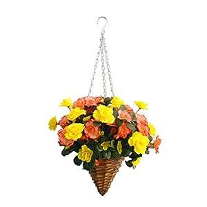 Fake Silk Flower Azalea Lifelike Hanging Wicker Cone Basket Artificial Rhododendron