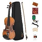 Eastar Violín 4/4 Conjunto de Violines para Niños Adultos Kit Violin con Afinador Custodia Arco Cuerdas otros Accessories(EVA-3)