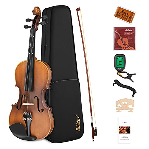 Eastar 4/4 Geige für Erwachsene Kinder Violine Set Anfänger mit Lernpunkt in Fingerplatte mit Inlay mit Hardcase Schulterstütze Bogen Kolophonium Geige Brücke und Saiten Matt(EVA-3)