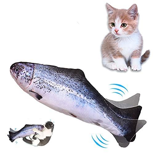 Lacyie Pesce Giocattolo per Gatto, Catnip Giochi per Gatti in Casa Elettrici Automatico Simulazione Peluche a Forma di Pesce Giochi Gatto Interattivo per Gatti Gatto con USB Ricaricabile (B)