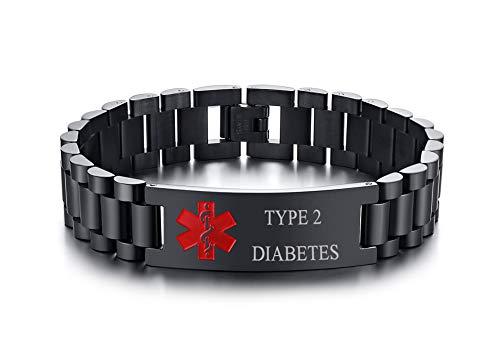 PJ JEWELLERY Type 2 Diabetes Edelstahl Männliche Armbanduhr Link Medical ID Armband Herren Medical Alert Armband für Herren