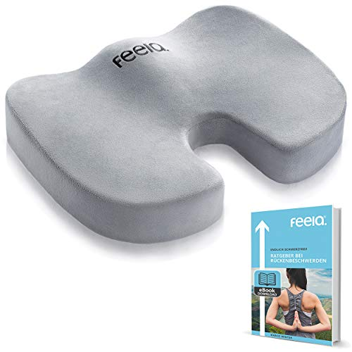 feela.® Cojín ortopédico [3 grados de dureza] – Cojín ergonómico para silla de oficina & Co – Reduce el dolor, aumenta la comodidad del asiento, promueve la circulación sanguínea y alivia el coxis (duro)