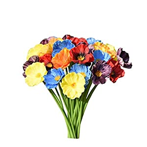 Mandy's Artificial Poppy Flower for Wedding Home & Kitchen PU 12.5″ (vase not Include)