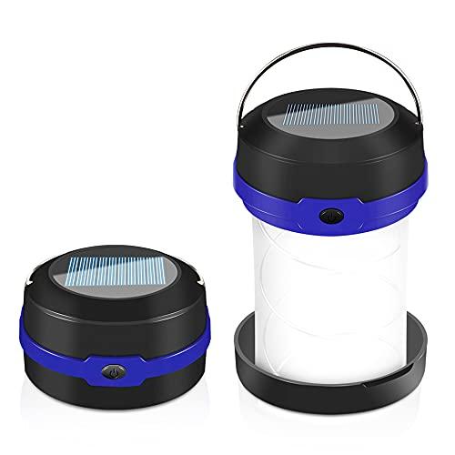 Molbory Linterna de camping plegable, 2 métodos de carga solar y USB con 3 modos de luz, plegable, lámpara de camping y gancho para colgar, para camping, exterior, senderismo, pesca, aventura (azul)