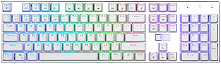 E Element Z-88 RGB Mechanical Gaming Keyboard, Red Switch - Linear & Quiet, Programmable RGB Backlit, Water Resistant, 104 Keys Anti-Ghosting for Mac PC, White (Renewed)