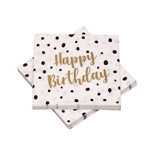 in due 20 Servietten 'Happy Birthday' Pünktchen Dots 33x33 cm - schwarz Gold - für Geburtstag