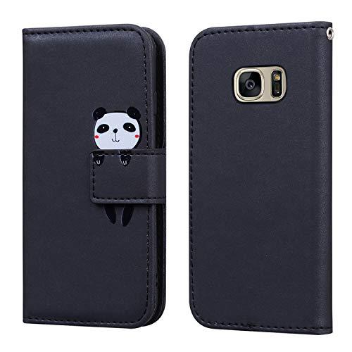FMPC Funda Samsung Galaxy S7 Edge con Tapa, Wallet Serie Cuero Carcasa con Libro Case, Cierre Magnético Función de Soporte Panda de Dibujos Animados en 3D, Negro